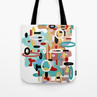 mid century Tote Bags featuring Mid Century One by Tina Carroll
