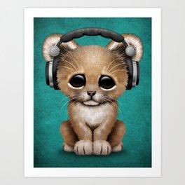 Cute Lion Cub Dj Wearing Headphones on Blue Art Print