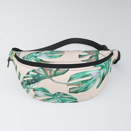 Tropical Palm Leaves Coral Greenery Fanny Pack