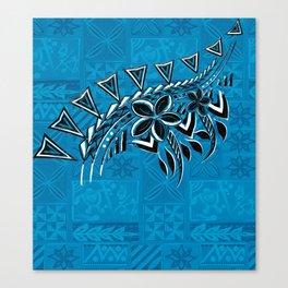 Old Samoa Teal Tribal Be Primitive Canvas Print