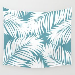 Palm Tree Fronds White on Soft Blue Hawaii Tropical Décor Wall Tapestry
