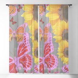 YELLOW SUNFLOWERS & MORPHING LILAC PURPLE MONARCH BUTTERFLIES Sheer Curtain