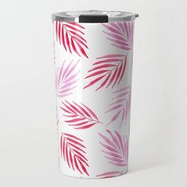 Tropical areca palms pattern in red Travel Mug