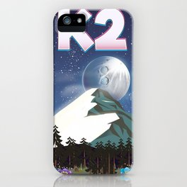 K2 Mountain travel poster iPhone Case
