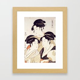 Three Beauties of the Present Day - Japanese Woodblock Print Framed Art Print