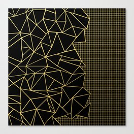 Ab Outline Grid Black and Gold Canvas Print