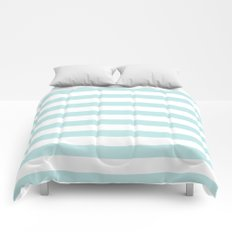 Simply Striped in Succulent Blue Stripes on White Comforters
