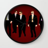 reservoir dogs Wall Clocks featuring Reservoir Dogs by Tom Storrer