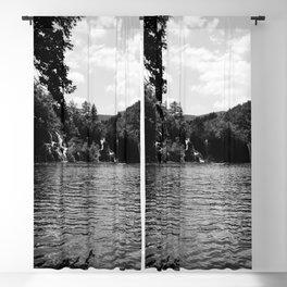 milanovacki slap at plitvice lakes national park croatia bw Blackout Curtain