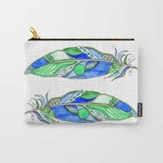 Bohemian Spirit Feathers - Blue & Green Carry-All Pouch