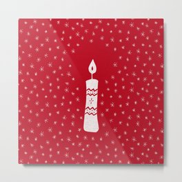 Christmas candle with sparkling stars on red Metal Print