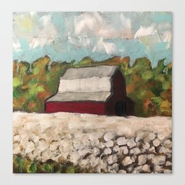 Red Barn in a Cotton Field Canvas Print