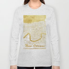 New Orleans Map Gold Long Sleeve T-shirt