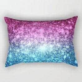 Galaxy Sparkle Stars Hot Pink Blue Rectangular Pillow