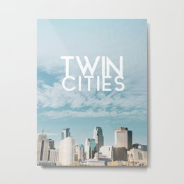 Twin Cities Skylines and Clouds-Minneapolis and Saint Paul Minnesota Metal Print