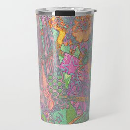 Denim Collage Print Travel Mug