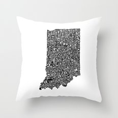 Typographic Indiana Throw Pillow