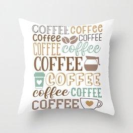Coffee Typography Throw Pillow