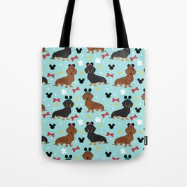 Dachshund theme park dog - black and tan and red doxies Tote Bag
