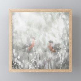 Bullfinch Birds Sitt On The Fence In Grey Winter Day Xmas #decor #society6 Framed Mini Art Print