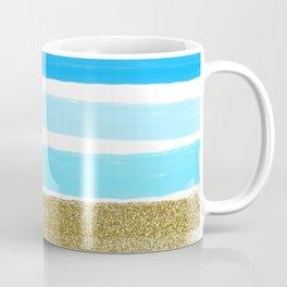 Blue Stripes and Glitter Coffee Mug