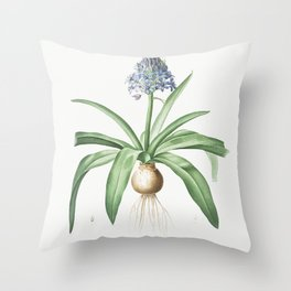 Portuguese squill  from Les liliacees (1805) by Pierre-Joseph Redoute Throw Pillow