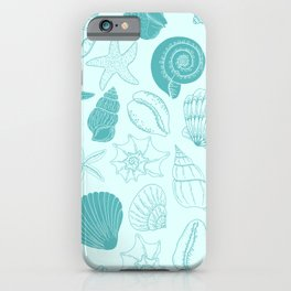 Seashells and Starfish Pattern in Sea Breeze Blue iPhone Case