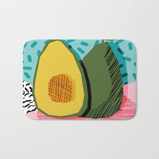 Choice - wacka memphis throwback retro neon fruit avocado vegetable vegan vegetarian art decor Bath Mat