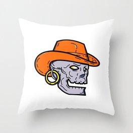 Cowboy Pirate Skull Mono Line Art Throw Pillow