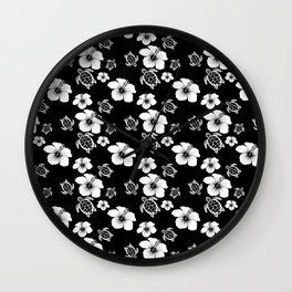 Black And White Floral And Turtle Hawaiian Pattern Wall Clock
