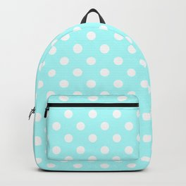 Small Polka Dots - White on Celeste Cyan Backpack
