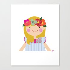 Flower crown girl Canvas Print