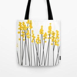 Hello Spring! Yellow/Black Retro Plants on White #decor #society6 #buyart Tote Bag
