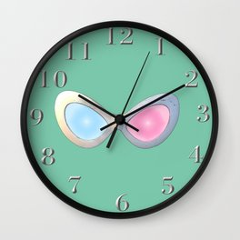 Blue and Pink Cat Eye Glasses Wall Clock