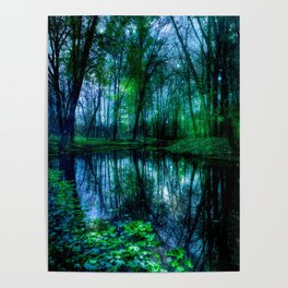 Enchanted Forest Lake Green Blue Poster