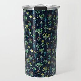 Navy Blue, Mint Green, Turquoise, Coral & Lime Floral Pattern Travel Mug