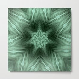 Green Star Flower Blossom Metallic Color #Pattern #Background Metal Print