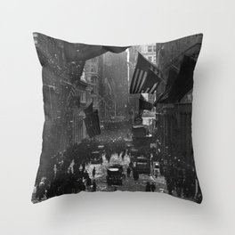 Germany Surrenders Parade - Wall Street - WW1 - 1918 Throw Pillow