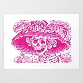 Calavera Catrina | Pink and White Art Print