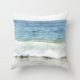 Blue Ocean Seascape, Sea Wave Photography, Pacific Coastal Landscape, Beach Seashore Throw Pillow