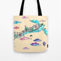 rio de janeiro Tote Bags featuring Flying Rio de Janeiro by Marina Papi
