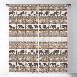Boho animals   Elephants tan Blackout Curtain