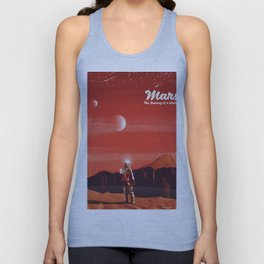 Mars Vintage Space Travel poster Unisex Tank Top