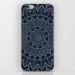 Blue Textured Lace Mandala iPhone Skin