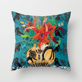 Amphitrite: Orange Lily and Wildflower Bouquet in Lion and Giraffe Urn on Emerald Matisse Inspired Wallpaper Throw Pillow