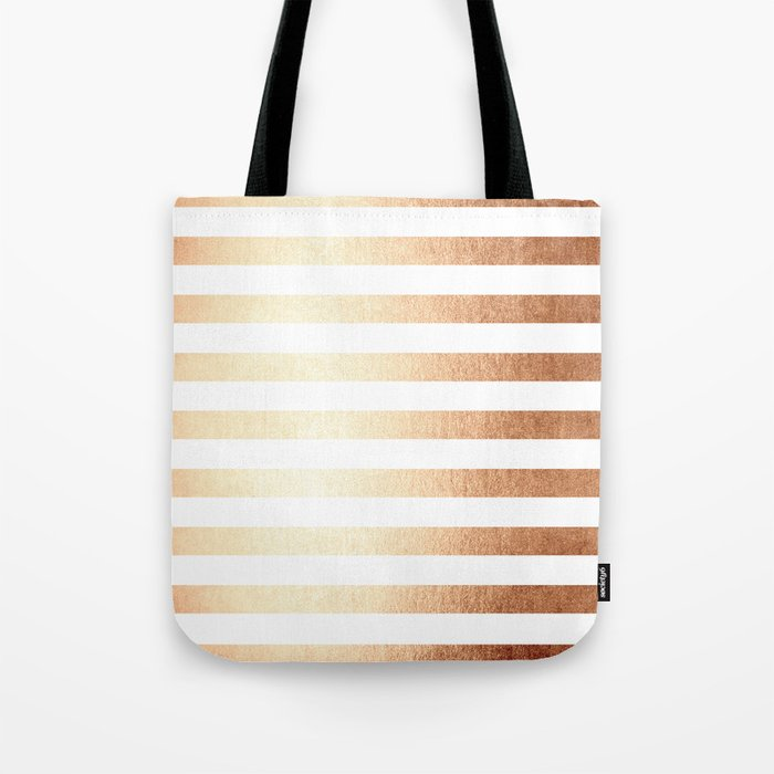 Simply Striped Deep Bronze Amber Tote Bag