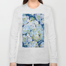 DELICATE TEAL & WHITE LACE FLORAL GARDEN Long Sleeve T-shirt