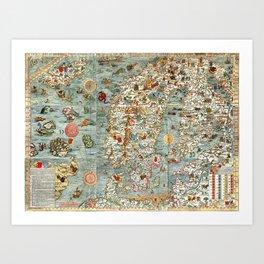 Carta Marina, map of Scandinavia by Olaus Magnus - 1539 Art Print