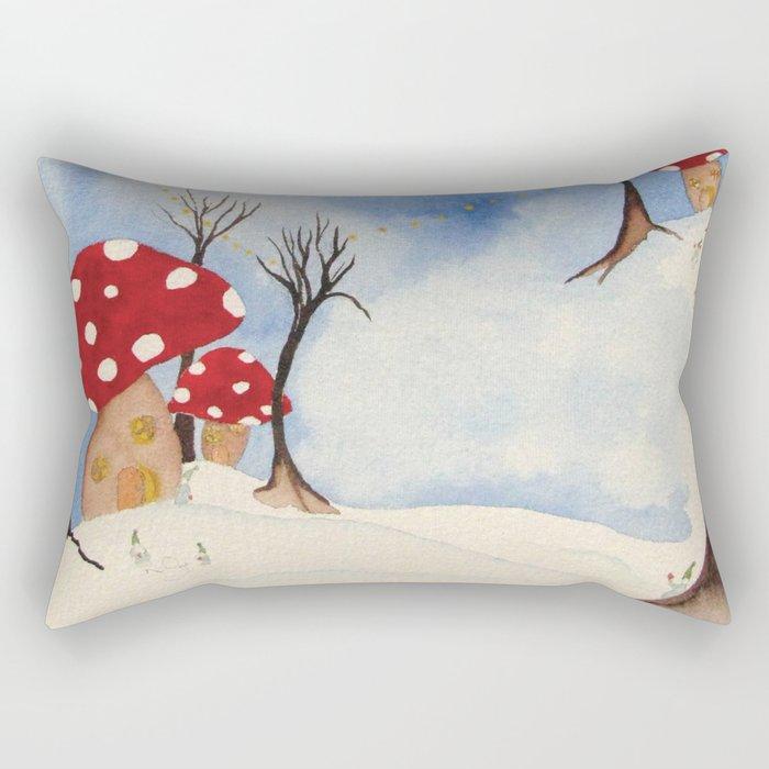 Mushroom Houses in Winter by Twelve Little Tales Rectangular Pillow