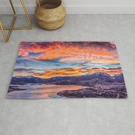 Sunset Pano // Beautiful Rocky Mountain Lake View Colorado Red Orange Sky Rug